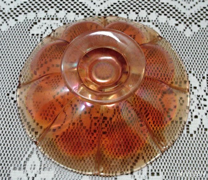 Vintage Clear Marigold Depression Glass Ruffled Rim Ribbed Design Fruit Bowl