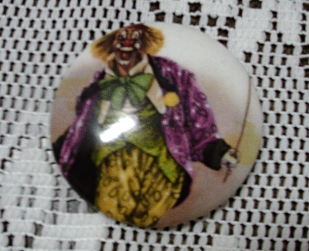 Vintage Newhall Staffordshire Bone China Clown Trinket/Ring Box Scary Clown