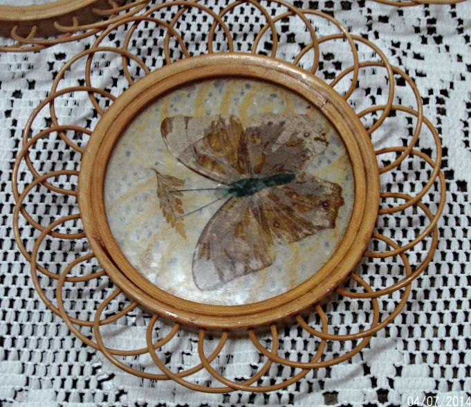 Vintage Pressed Butterfly Coasters With Wicker Holder // Retro Coasters