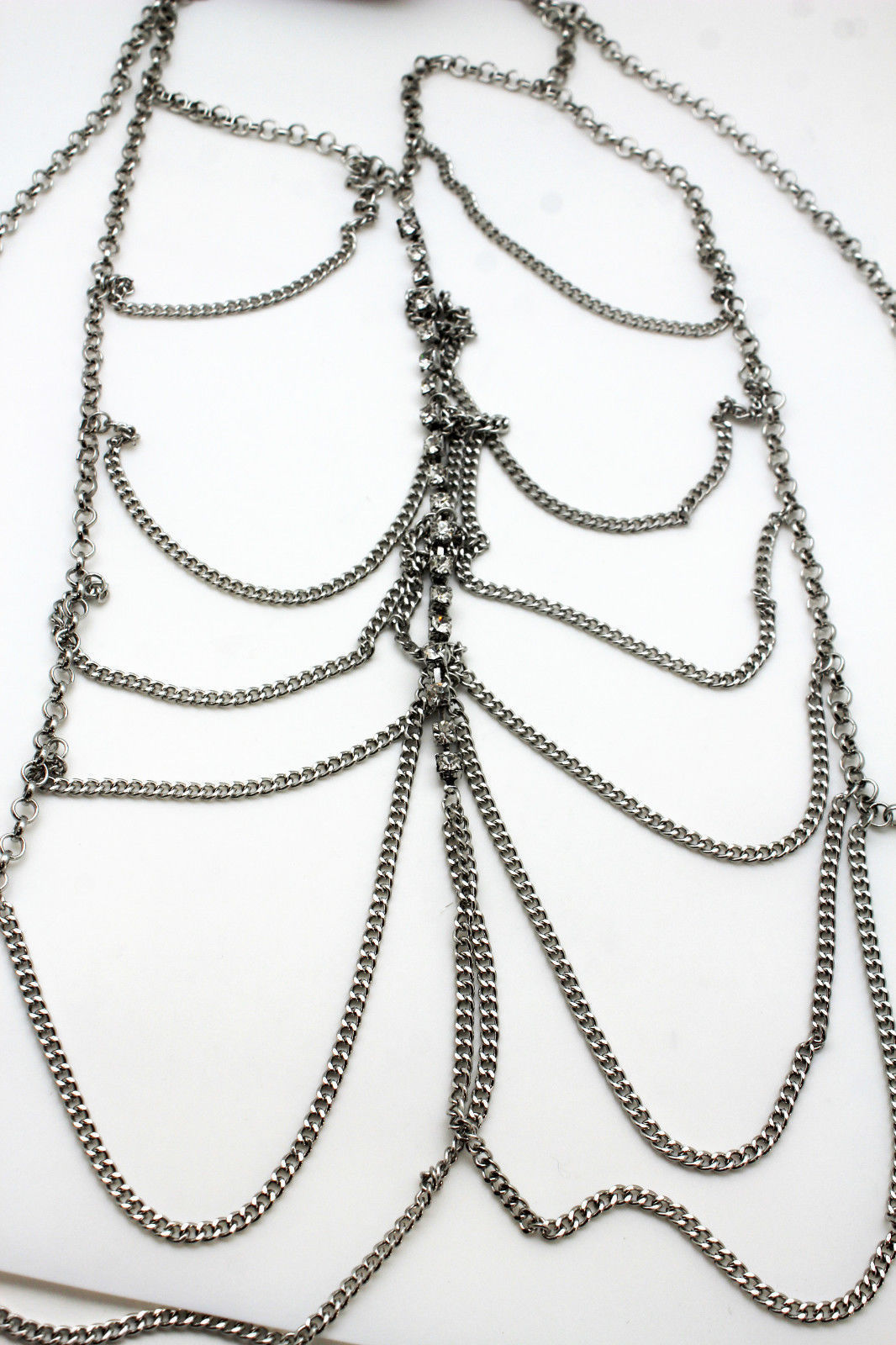 Women Silver Metal Body Chains Fashion Jewelry Harness Necklace Waves Rhinestone
