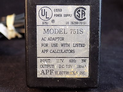 POWER ADAPTER APF Model 751S 117VAC to 7.5VDC TESTED Japanese made RARE!