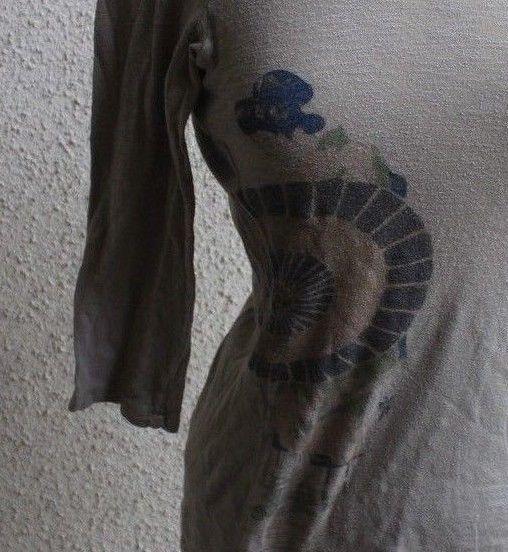 Citron Santa Monica T-Shirt Brown 3/4 Sleeve Geisha Girl Graph 100% Cotton Sz S