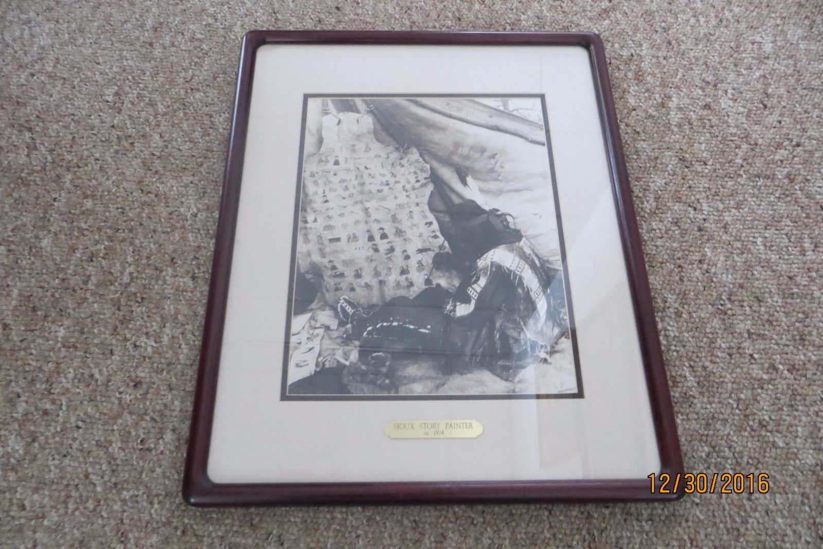 SIOUX STORY PAINTER ca.1924 framed and matted professionally cherrywood frame