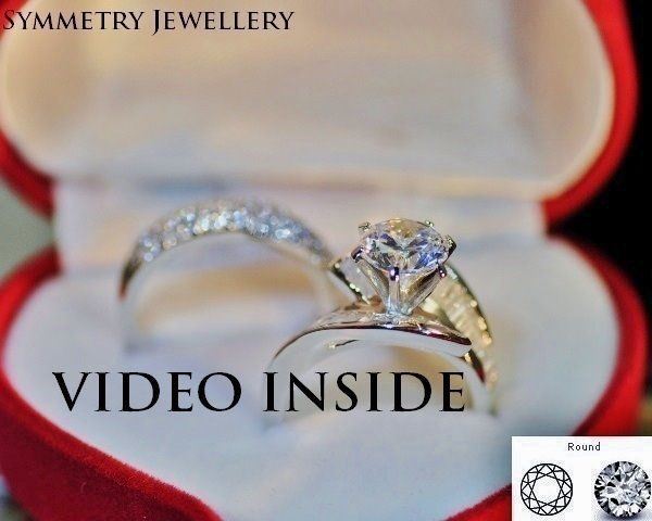 3.CT Round Cut 2Pieces Fine Jewelry Fine Rings Diamond Ring Silver Made in Italy