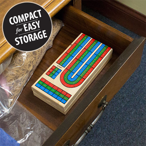 CRIBBAGE BOARD Wooden 3 Track set with Cards - FOLDING for travel & easy storage