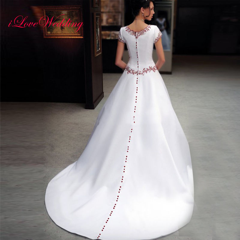 2017 White Satin Embroidery Ball Gown Wedding Dresses Formal Bridal Gowns Custom