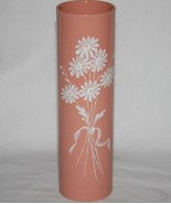 Lenox Made in USA Green Mark Coral Cylinder Vase White Embossed Flowers ... - $120.00