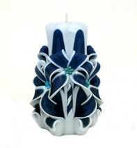 Carved Candles Blue White Paraffin Wax Unscented Free shipping - $32.99