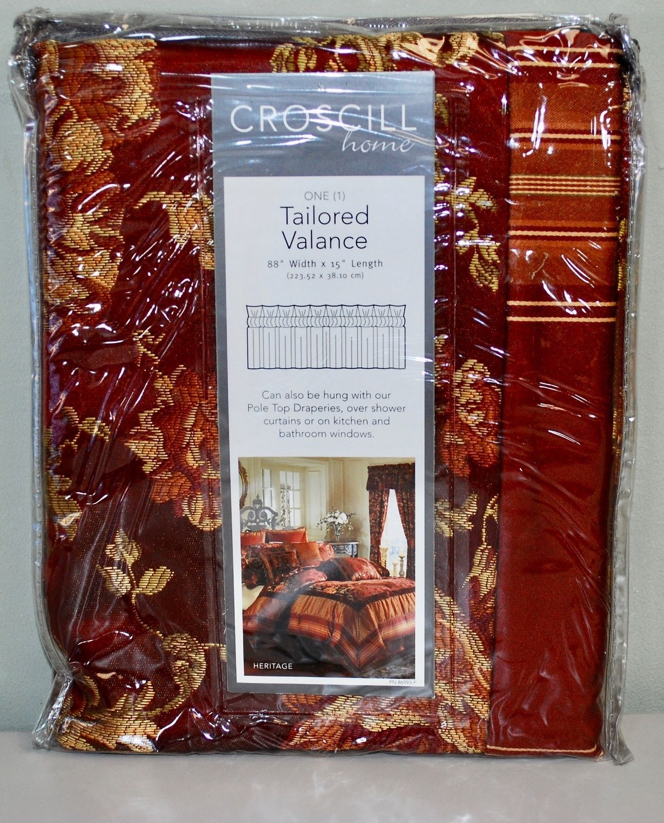 "CROSCILL TAILORED WINDOW CURTAIN VALANCE - HERITAGE RED/GOLD BROCADE - 88"" x 15"""