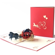 Carriage--3D Wedding Card, 3D Greeting Card, Pop Up Card, Pop Out Card - $5.05