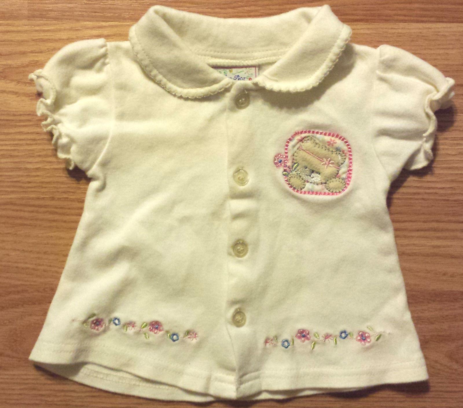 Super Cute Girl's Size 6-9 M Months Two Piece Cream Bear Dress Top & Carter's DC