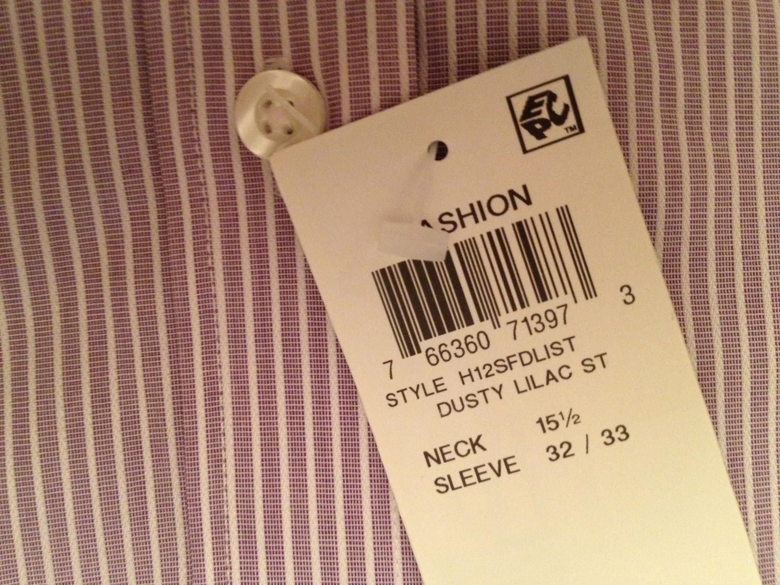 NEW MEN'S Tasso Elba Non Iron Egyptian French Cuff Dress Shirt Lilac 15.5 32/33