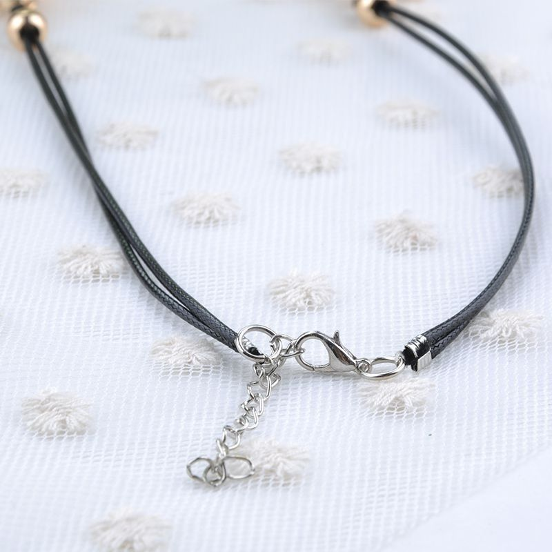 Korean Exquisite Luxury Elegant Women Leather Opal Flowers Necklace Sparkling