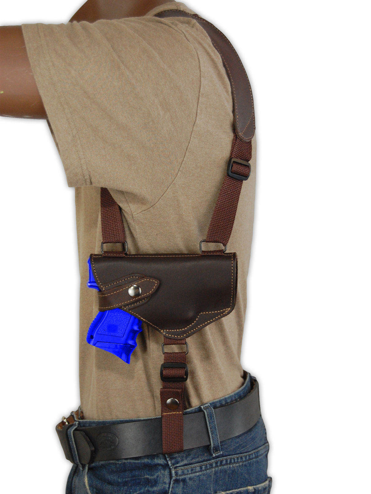 NEW Barsony Horizontal Brown Leather Shoulder Holster Ruger Compact 9mm 40 45