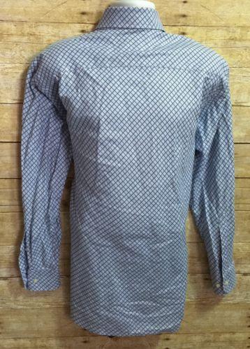 Robert Talbott Carmel Blue Brown Diamond Plaid Men's Medium Cotton Casual Shirt