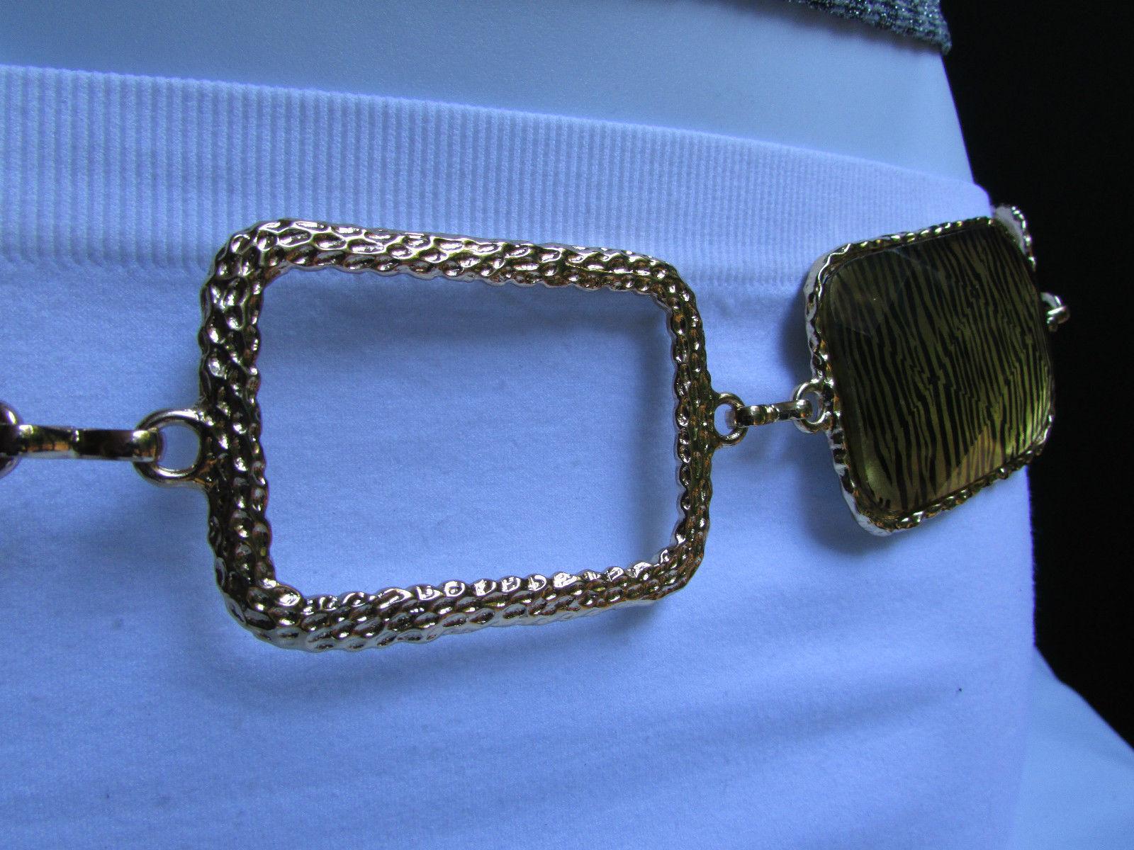 "New Women Belt Fashion Waist Hip Gold Leopard Squares Metal Chain 24""-42"" Xs-Xl"