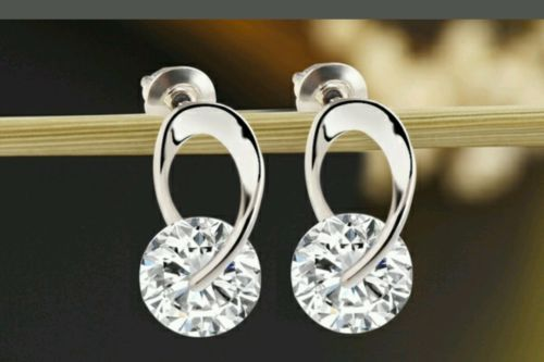 Silver Plated Zircon CZ Crystal 925 Sterling Silver Earring  Around CZ RETAIL$20