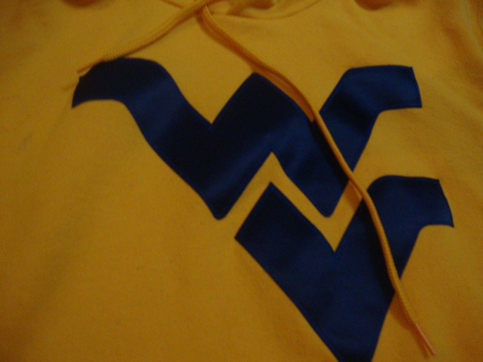 NCAA West Virginia Mountaineers Gold Sewn Logo Hoodie Sweatshirt Adult size M