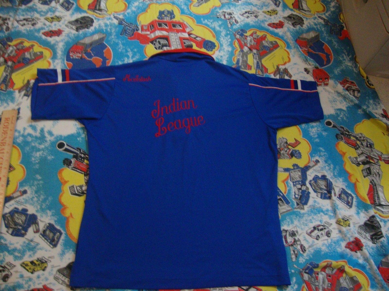 Vintage 80s Indian League McIntosh Bowling Polyester Hilton Blue Pocket Shirt XL