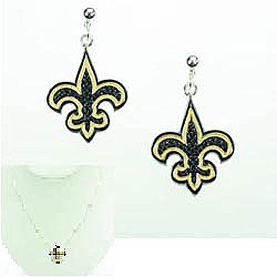 Black and Gold Crystal and Silver Plated Fleur de lis Necklace and Earring Set
