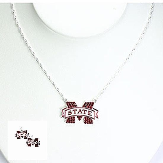 Mississippi State Bulldogs Crystal Earring and Necklace Set