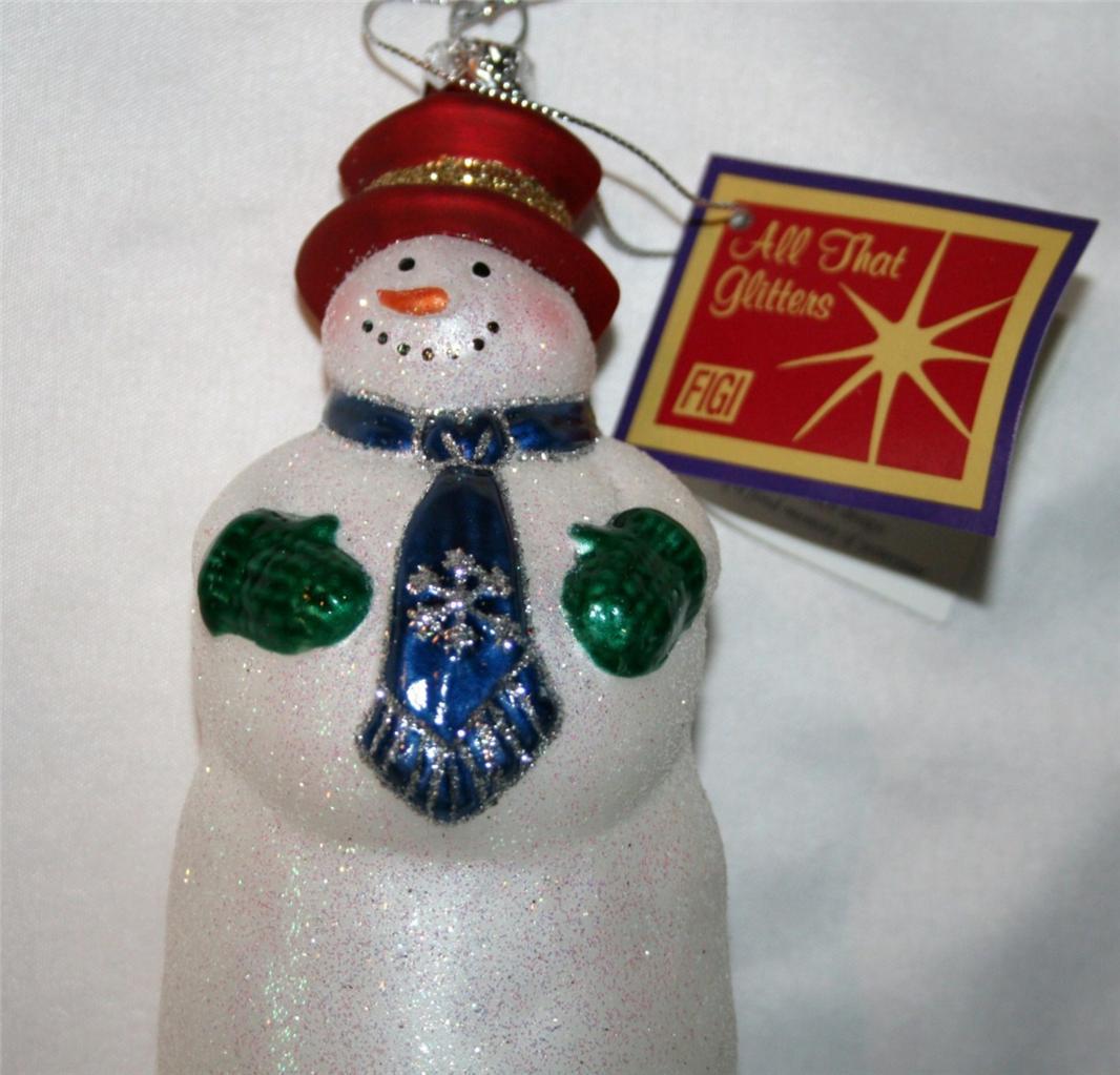 """FIGI """"Wilburrrr Frost""""  Blown Glass Glitter Snowman Ornament NIB   #980"""