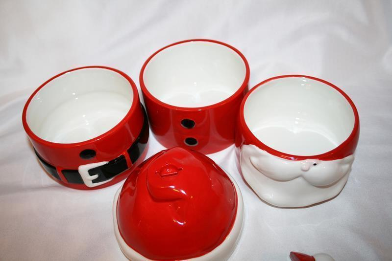 Department 56 Winking Santa 3 Stacking Bowls with Spreader Set  #1921