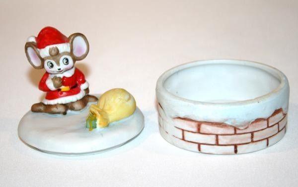 HOMCO Christmas Mouse Round Trinket Box  #962
