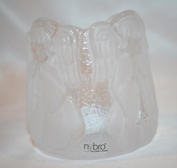 NYBRO CRYSTAL Sweden Hand Made Angel Votive Candle Holder MIB #947