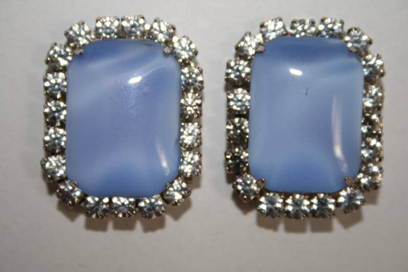 Vintage Silver Tone Blue Glass with Clear Crystal Clip Earrings  J165JS