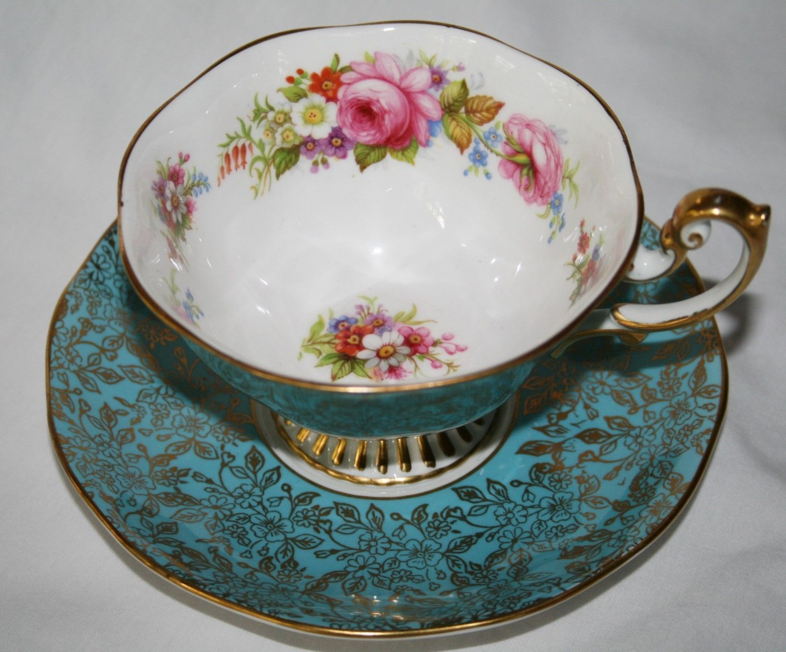 Royal Albert Turquoise Gold Chintz Tea Cup & Saucer Set Multi-Colored Flowers