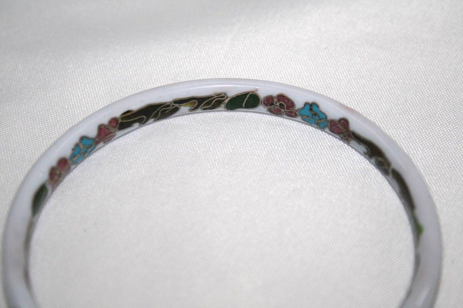 Vintage Glass Chinese White Floral Cloisonne Bangle Bracelet J116RJ