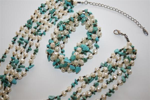 GAROLD MILLER Friends Coll Simulated Pearl Turquoise Necklace Bracelet NEW D25DB