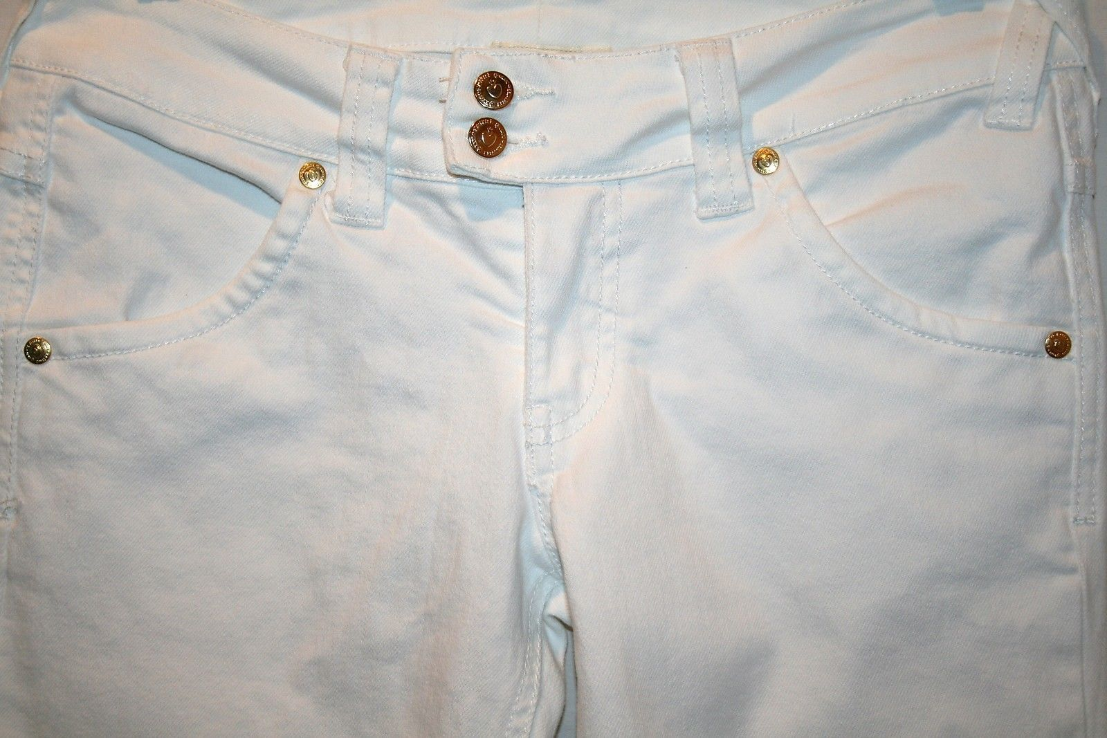 TWISTED HEART White Gold Button Low Rise Boot Cut Jeans Size 26