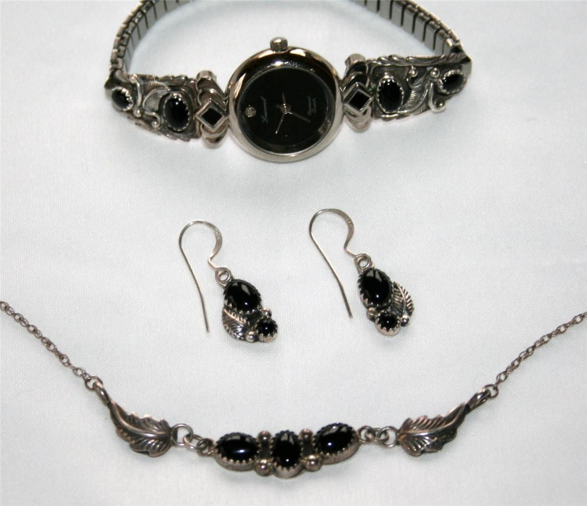 LUCORAL Watch with Signed Sterling Onyx Band Necklace & Earring Set J86GS
