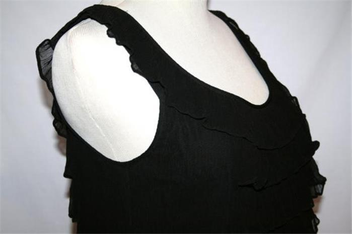 JUICY COUTURE Cascading Ruffle Silk Mini Dress Size 6 Black  #880