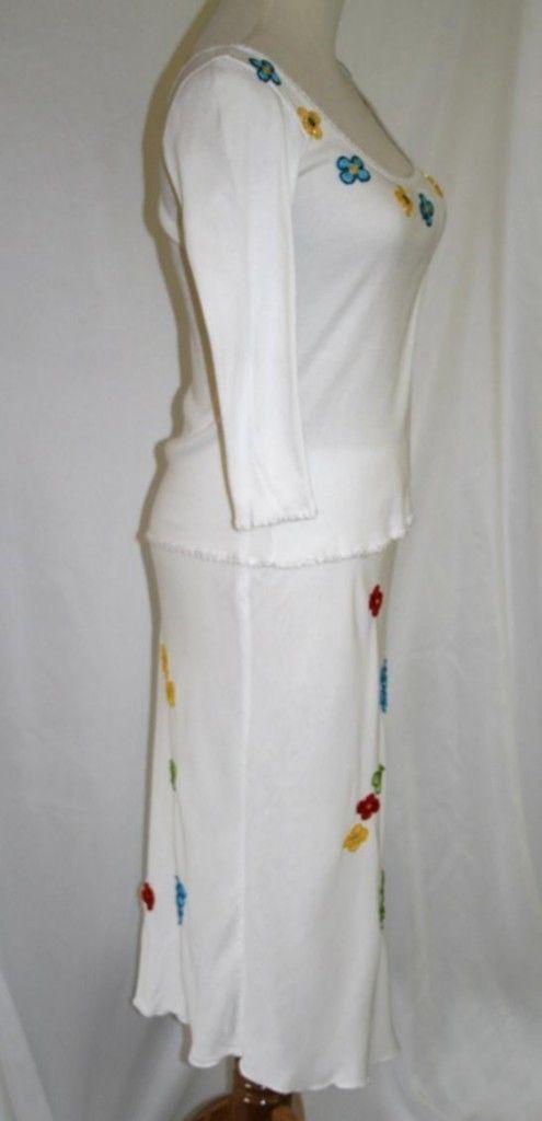 Sonia Trussardi Sepe White Beaded Slim Ribbed Top & Skirt Medium   #152