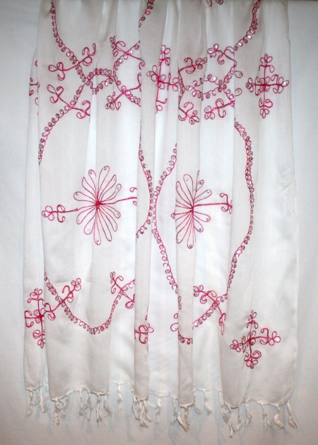 White Fringe Large Fushia Embroidered Cover-Up Sarong Scarf Shawl Pareo Wrap