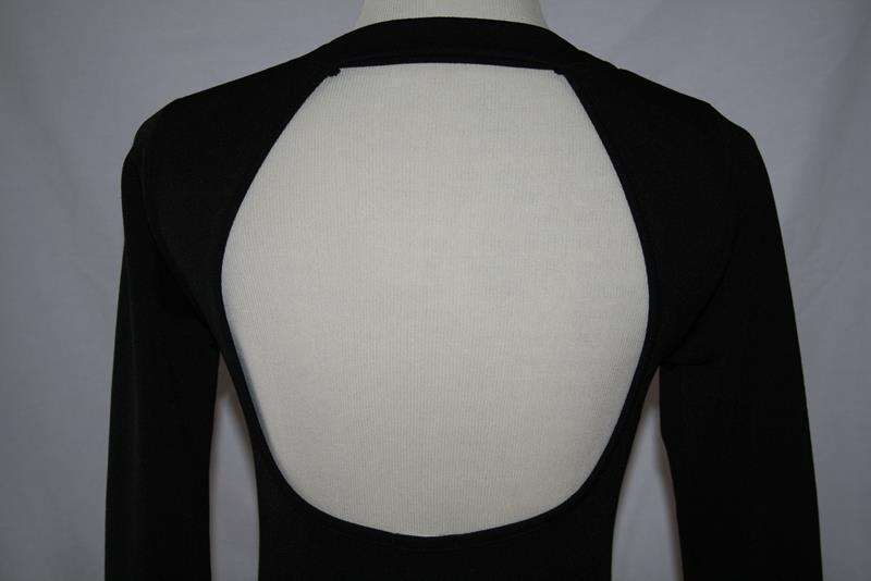 TOBI Black Poly Spandex Slim Stretch L/S Open Back Sexy Top Small #2022