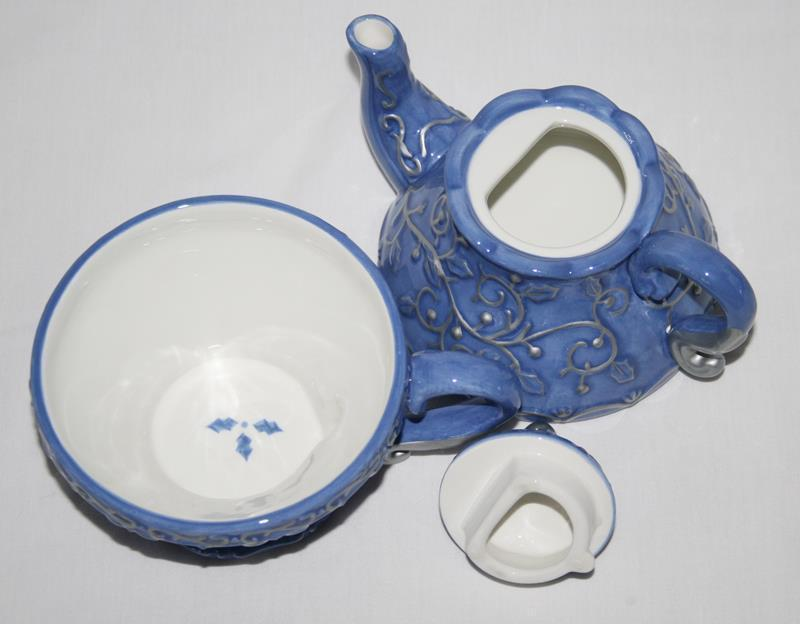 Tea For One Make The Season Bright Blue Silver Scroll Teapot & Cup Set #1963