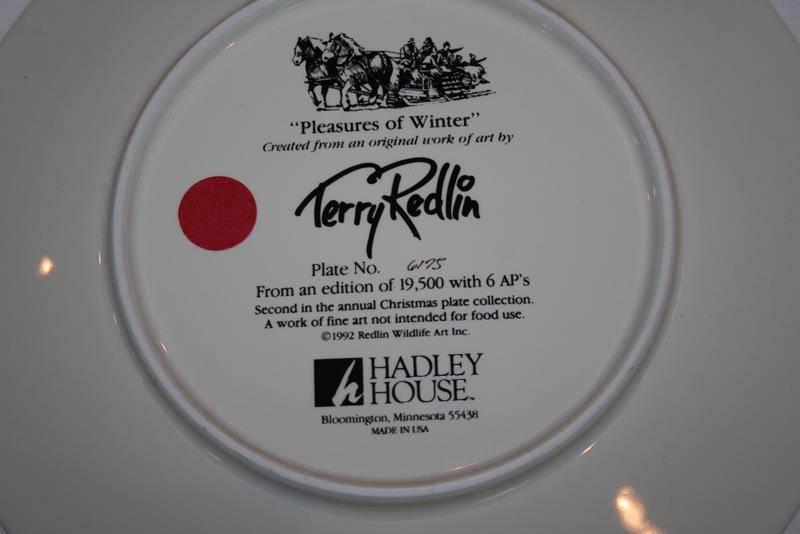 "Terry Redlin LE Christmas Series Plate  ""Pleasures of Winter"" -MIB-   #1715"
