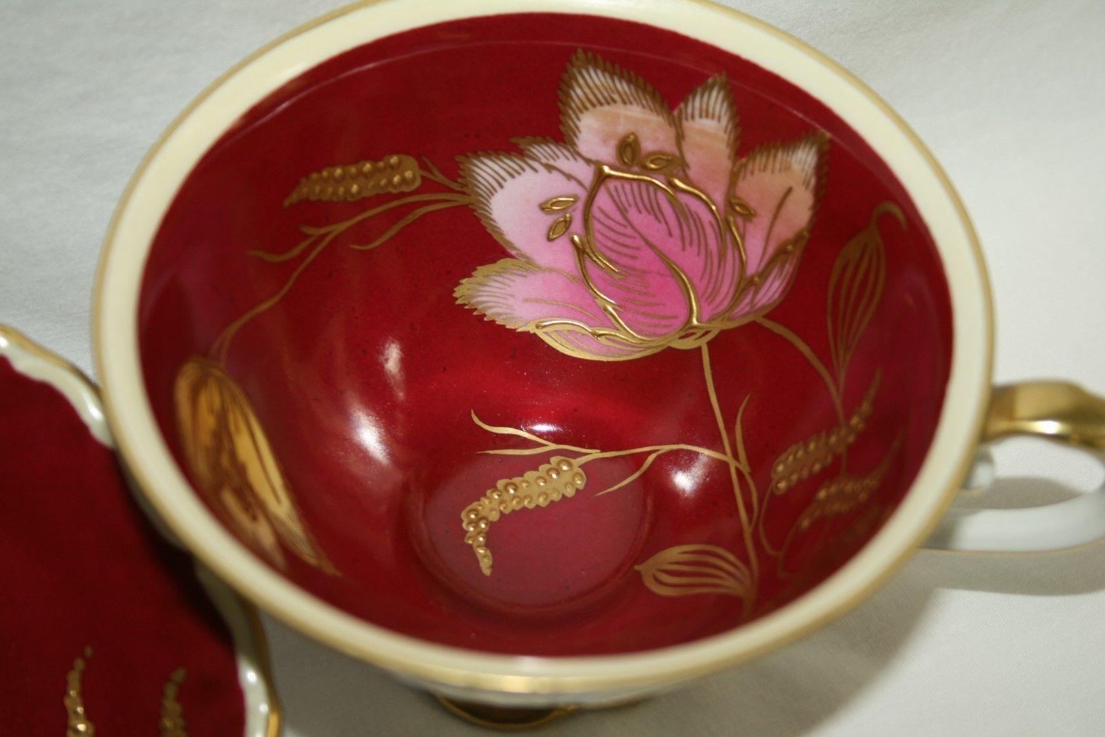 Schumann Bavaria Germany Maroon Tea Cup & Saucer Set Pink Yellow Gold Florals
