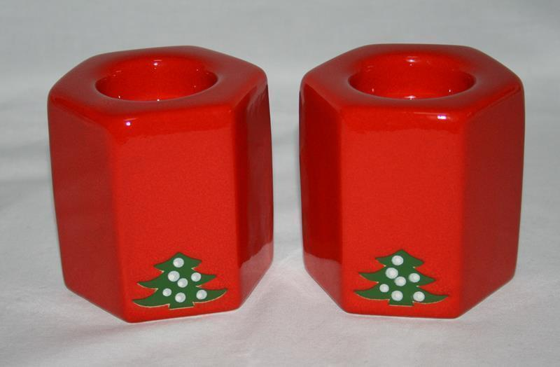 Waechtersbach Germany Red Christmas Tree Set of 2 Tealight Candle Holders  #1901