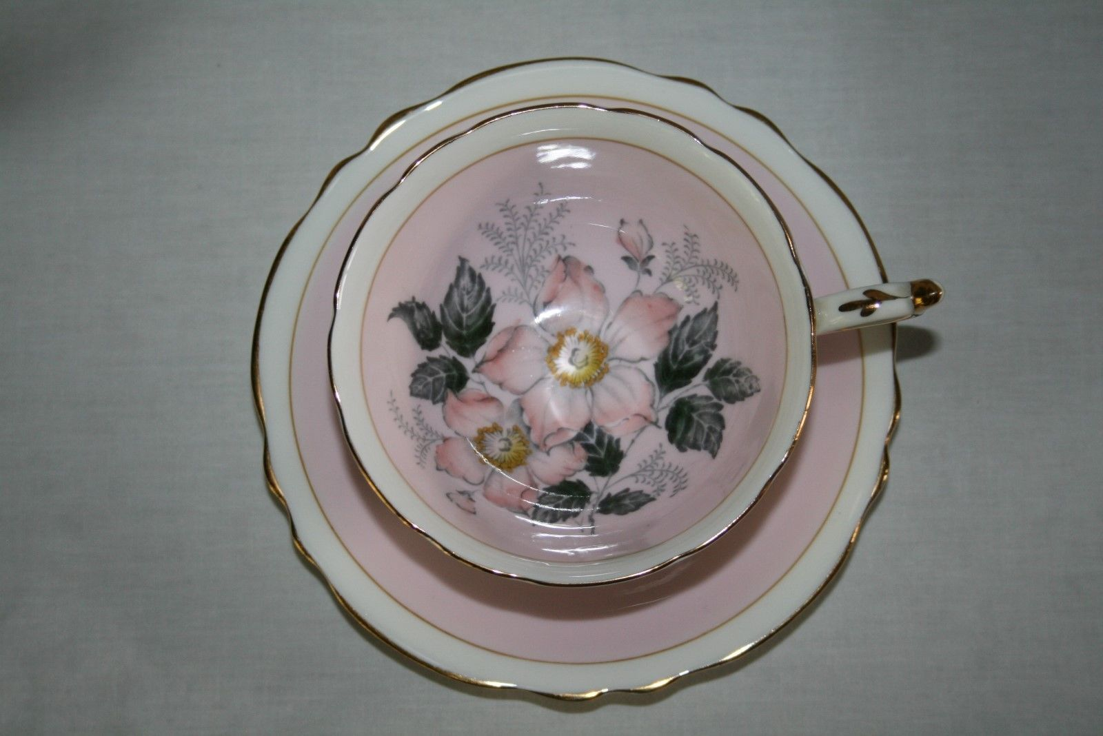 Paragon A702 Pastel Pink Tea Cup & Saucer Set with Peach Grey Flowers,Gold Trim