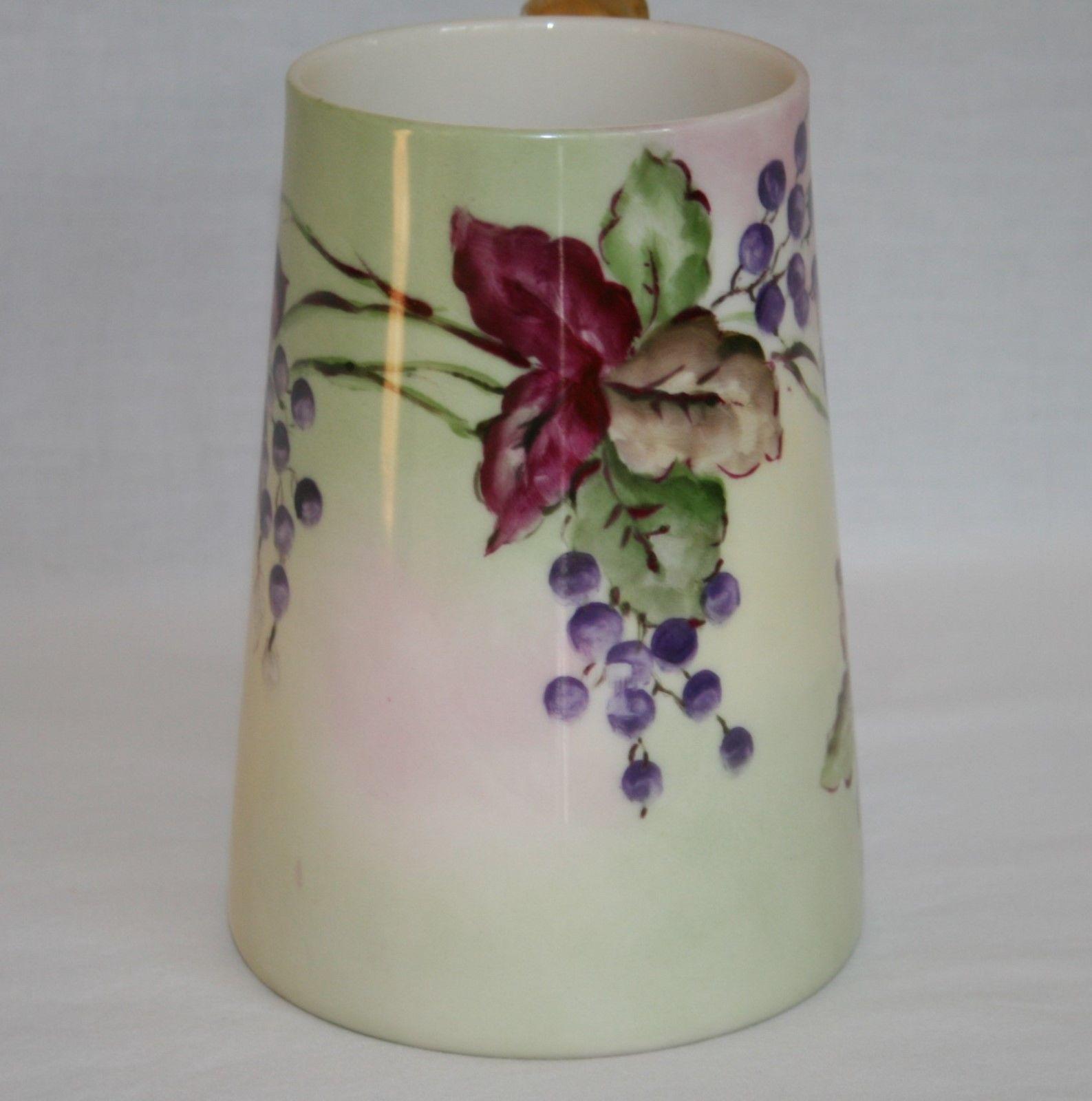 Vintage Lenox Belleek Pallet Hand Painted Grape Leaf Dragon Handle Mug