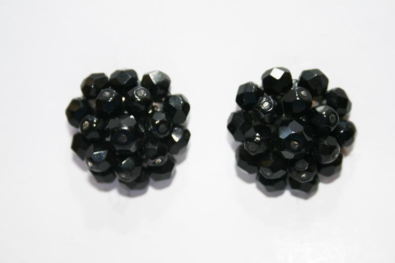 Vintage Laguna Black Glass Bead Cluster Clip On Earrings  J253