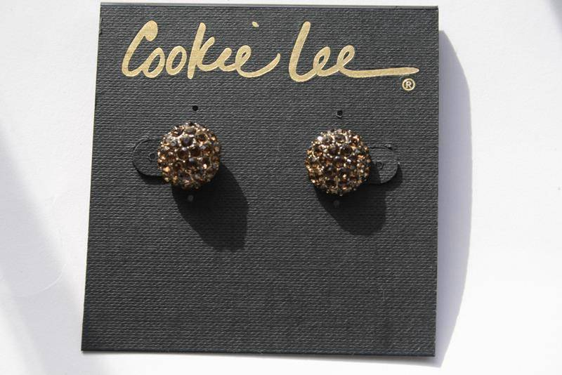 Cookie Lee Topaz Crystal Round Button Pierced Earrings -NEW-  J188