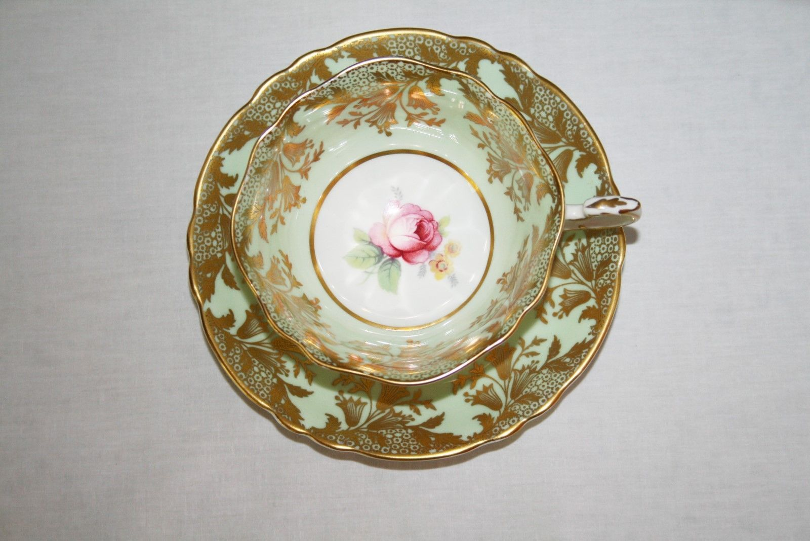 Paragon A391 Mint Green, Gold, Pink Rose Tea Cup & Saucer Set