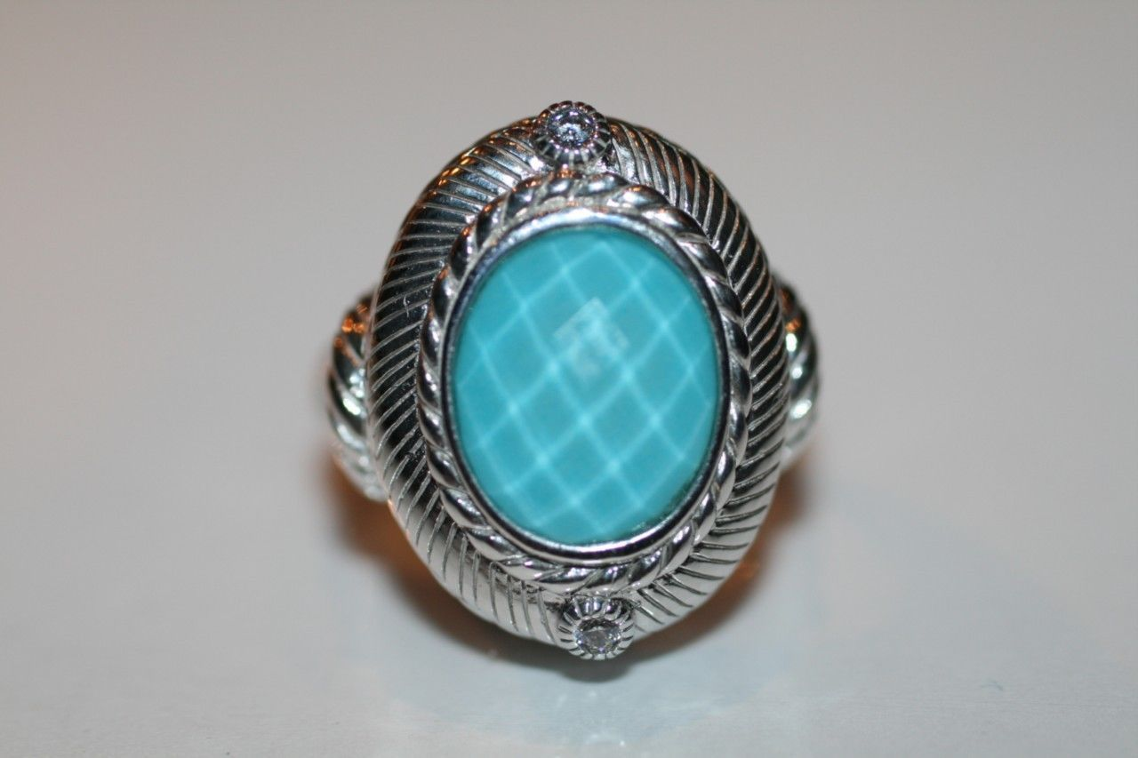 JUDITH RIPKA 925 Sterling Turquoise Doublet Ring Size 6 NEW IN BOX   D38DB