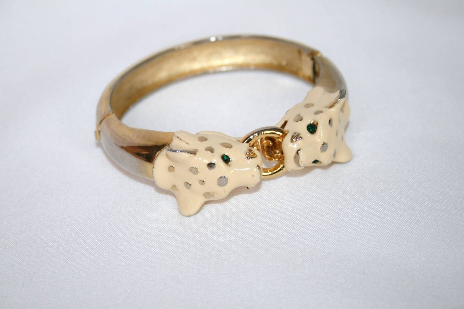 Gold Tone Enamel Tiger Head Emerald Crystal Eyes Cuff Bracelet   J163JS